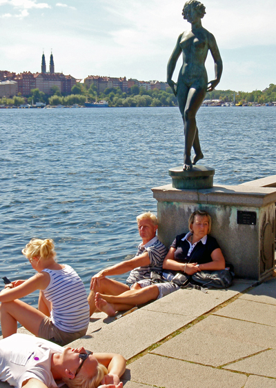 Tourists at Stockholm City Hall, Sweden