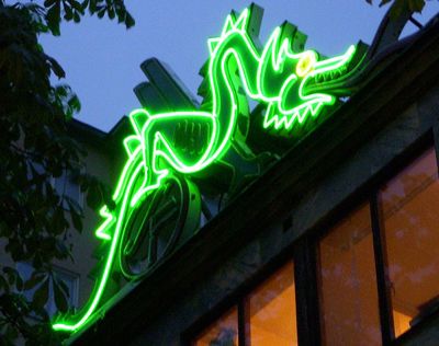 The Dragon neon sign at Fridhemsplan in Stockholm