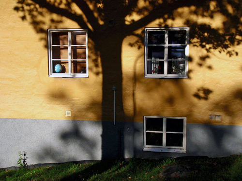 The shadow from a tree falls on a house wall in Stora Essingen, Sweden